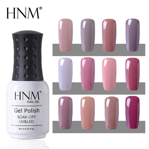 HNM Nude 12 Colors Semi Permanent Hybrid Varnish UV Gel Nail Polish Soak Off 8ML Stamping Enamel Painting Gellak LED Lamp Gel