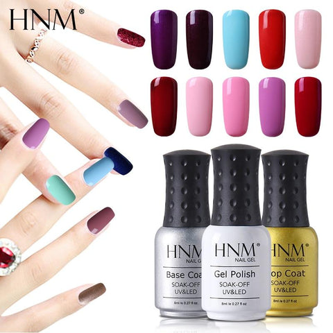 HNM Pure Color 8ML Nail Polish Soak Off UV Stamping Paint Gellak Nail Polish LED Lamp Gelpolish Lucky Lacquer Hybrid Varnish Ink