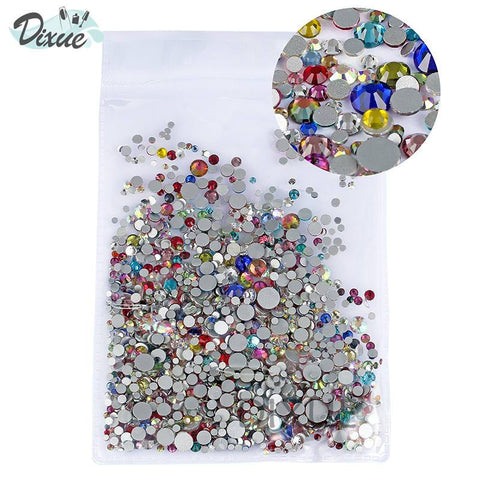High Brightness Mixed Size 1000 / Pack Crystal Transparent AB Non-Thermal Modification Flat Bottom Diamond Nail 3D Nail Art 350