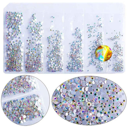 Hisenlee 1680pcs 28 Colors SS3-SS10 Small Sizes Nail Art Crystal Glass Rhinestones For Nails 3D Nail Art Decoration Gems