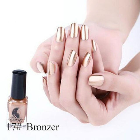 Manooby 2018 Hottest Effect Nail Polish Metallic Lacquer Silver Nail Mirror Effect Metal Gold Nail Gel Polish Base Top Nails Art