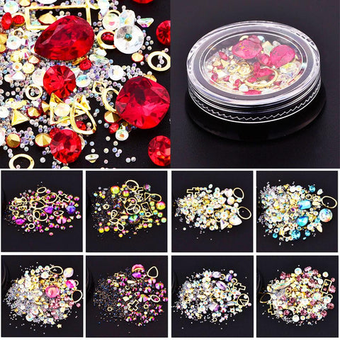 Mixed Colorful Acrylic Rhinestones Alloy Metal Frame Diy Art Nails Decor Manicure 3D Nail Art Decoration