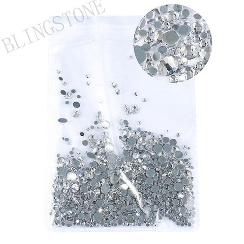 Mixed Size 1/ Pack Rhinestones Set Gold flack Crystal Glass Hotfix Flatback Nail art Rhinestones For DIY Nails 045