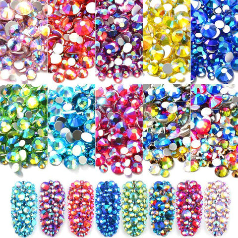 Mixed Size AB Colorful Crystal Nail Art Rhinestones Non Hotfix Flatback Glass Stones 3d Glitter Decorations Gems For DIY Nails
