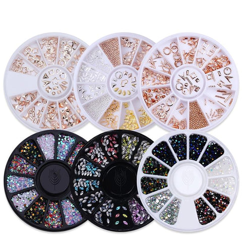 Nail Rhinestones Studs 3D Nail Art Decoration Rose Gold Rivet Marquise Circle Star Round Square Triangle Mixed Accessories
