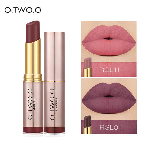 O.TWO.O Matte Lipstick Waterproof Lip Tattoos Cosmetic Long Lasting Moisturizer Rose Gold Revolution Lipstick Makeup Maquillage