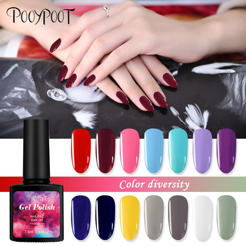 Pooypoot Nail Art Gel Nail Polish Gorgeous Candy Colors Hybrid Gel Varnishes Soak-off UV LED Gel Varnishes Lacquer Nails Primer