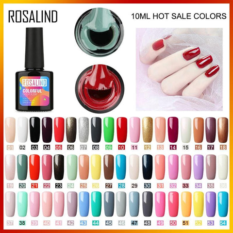 ROSALIND 10ML Nail Polish 58 Colors UV LED Nail Gel Polish UV LED Nail Art Lacquer Semi Permanent Soak-off Gel White Varnish