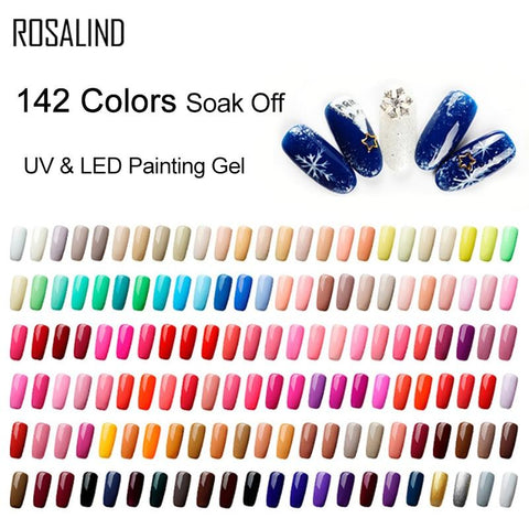 ROSALIND 5ml 142 Colors Gel Varnish UV Nail Gel Polish Manicure DIY French Nail Art Polish Design Soak Off Nail Painting Color