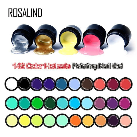 ROSALIND 5ml HOT Selling Gel Lacquer Pure Color UV Gel Manicure DIY Nail Art  Gel Polish Design Nail Painting Color Gel Varnish