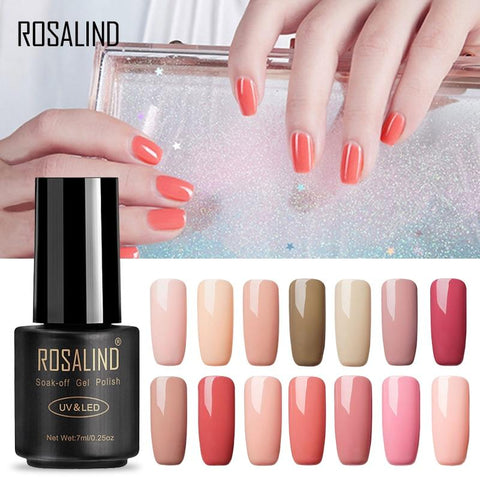 ROSALIND 7ML Gel Polish Nude Color Gel Nail Polish Semi Permanent Nail Art UV LED Acrylic Soak Off Gel White Varnish