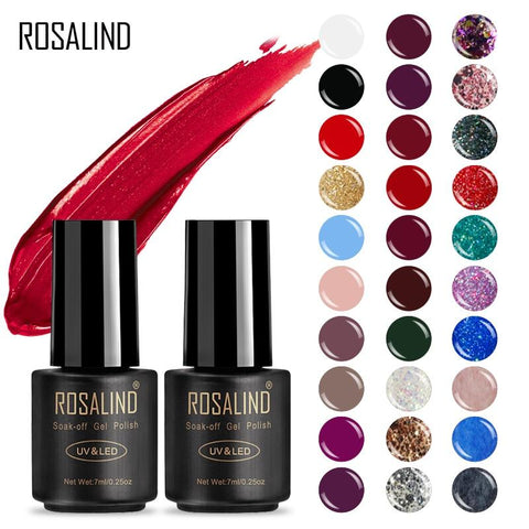ROSALIND Gel Polish Hybrid Nail Art Gel Glitter Top Base Coat 7ML UV Vernis Semi Permanent All for manicure Acryl Gel Lak