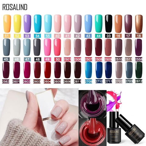 ROSALIND Gel nail polish UV Gel Varnish 7ML 58 Pure Colors Nails Gel Polish Warming Manicure for Nail Art nail gel  polish