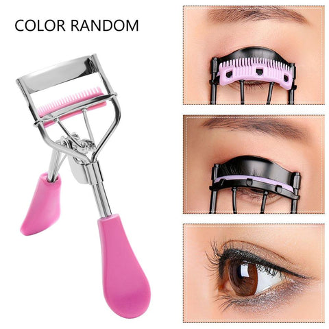 Random Color!!!1PC New Colorful Cosmetic Eyelash Curler With Comb Tweezers Curling Eyelash Clip Cosmetic Eye Beauty Tool
