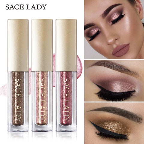 SACE LADY Glitter Eyeshadow Makeup Liquid Shimmer Eye Shadow Metals Illuminator Glow Kit Make Up Highlighter Cream Cosmetic