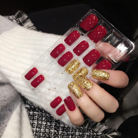 Shiny Red Fake Nails Square Medium Press On Nails Glitter Decoration Nail Art Tips including Glue Sticker