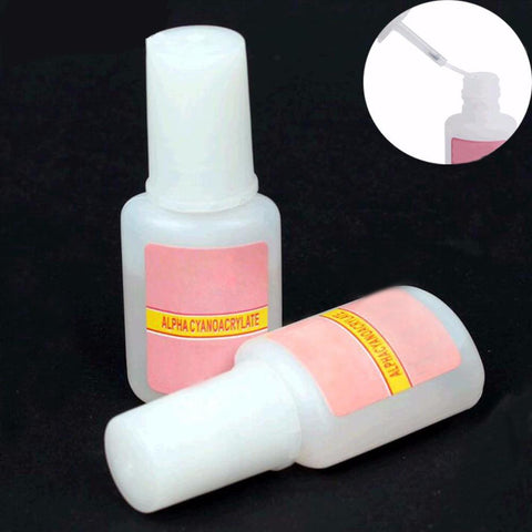 TOMTOSH 1 Pcs 10g BYB False Glue Nail Art Tips Glitter Acrylic Decoration with Brush false nail gel glue fake nails nail label