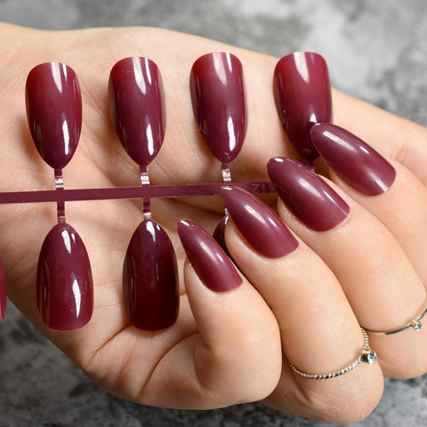 True Color Fashion Fake Nails Jujube Dark Red Stiletto Press On Nails DIY Manicure Tips Full Wrap Many colors 24pcs/kit