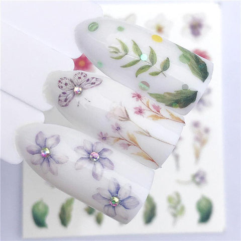 WUF Fresh Rose / Flower / Butterfly Water Transfer Nail Art Sticker Decal Slider Manicure Wraps Tool Tip