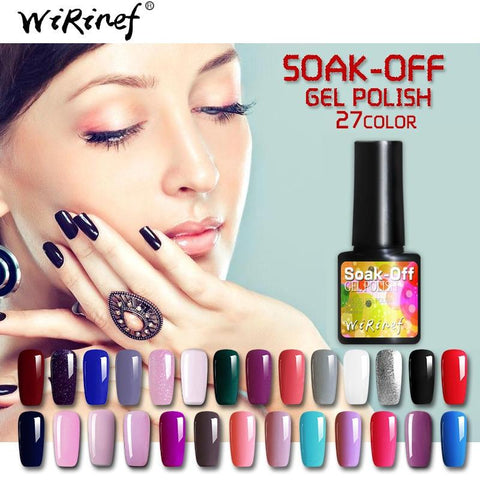 WiRinef 27 Colors 8ml Pure Semi-Permanent Nail Gel Polish UV Led Lacquer Hybrid Long Lasting UV Gel Nail Polish
