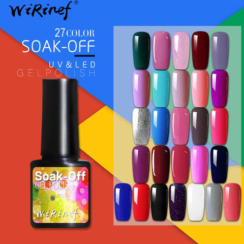 WiRinef 8ml Pure Colors Gel Nail Polish Long Lasting Gel Varnish UV&LED Semi Permanent Colorful Gel Lacquer