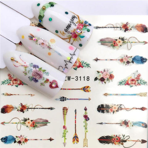 YWK 1 Sheet Optional Different Colors Feather Fashionable Nail Art Decor Water Transfers Nail Sticker for Ladies Decals