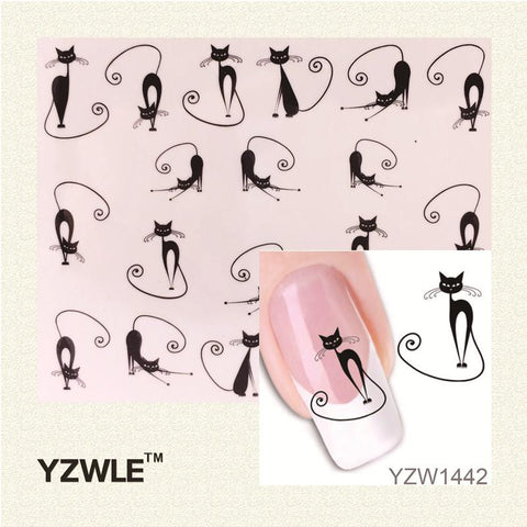YWK Loveliness Cat Water Transfer Nail Stickers Gel Beauty Decal Makeup temptation Cartoon Cat Sweetheart Animation