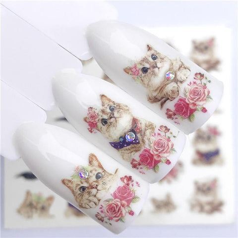 ZKO 1 PC Hot Nail Sticker Leading Knotted Cat/Flower Beauty Water Transfer Stamping Nail Art Tips Nail Decor Manicure Deca