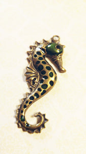 "Large Seahorse Pendant Antiqued Bronze Seahorse Charm with Enamel 2 5/8"" Large Focal Pendant Ocean Pendant Nautical"