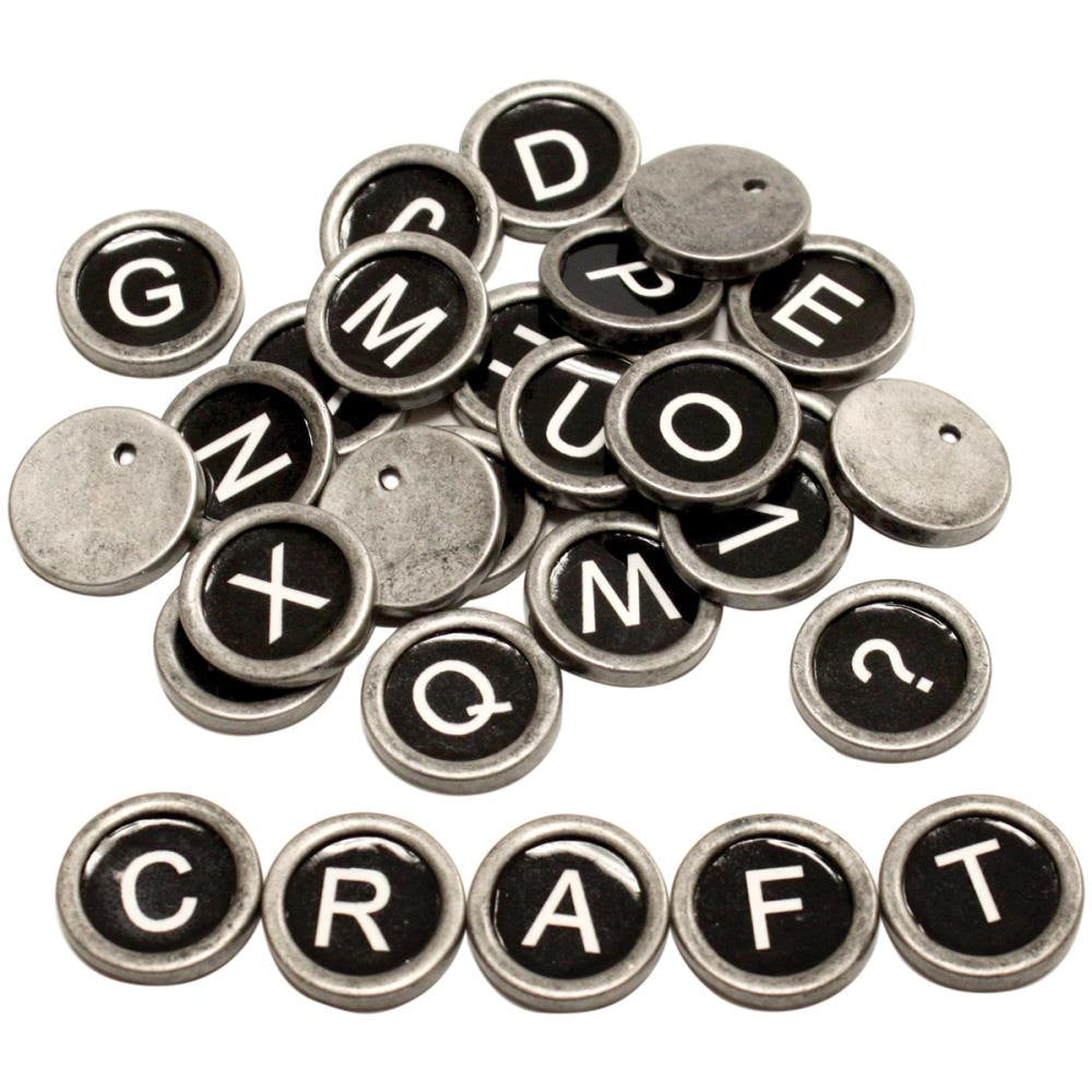 Typewriter Keys DIY Vintage Style Cabochons Letter Cabochons Alphabet 27 pieces All Letters and ? Symbol Silver Black Enamel PREORDER