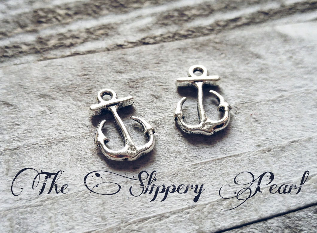 Anchor Charms Silver Anchor Charms Boating Charms Sailing Charms Nautical Charms Anchor Pendants Mooring Charms Kedge Charms 10 pieces