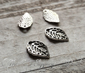 Leaf Charms Silver Leaf Charms Leaf Pendants Nature Charms BULK Charms Wholesale Charms Silver Charms 50 pieces