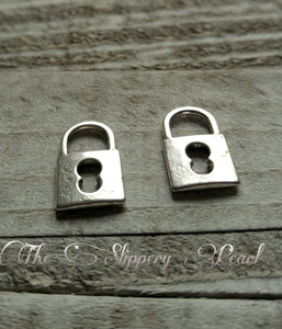 Lock Charms Silver Lock Charms Padlock Charms Steampunk Lock Charms Steampunk Charms Keyhole Charms Silver Charms 10 pieces