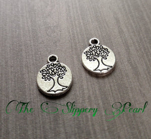 Tree Charms Tree of Life Charms Pendants Antiqued Silver Tree Charms Double Sided Stamped Tree Charms Wholesale Charms 25 pieces