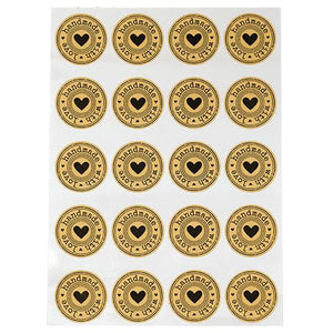 "Handmade with Love Stickers Sticker Sheets Tan Black Stickers Handmade Stickers Sheet of 20 1.75"" Stickers"