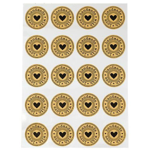 Handmade with Love Stickers Sticker Sheets Tan Black Stickers Handmade Stickers Sheet of 20 1.75
