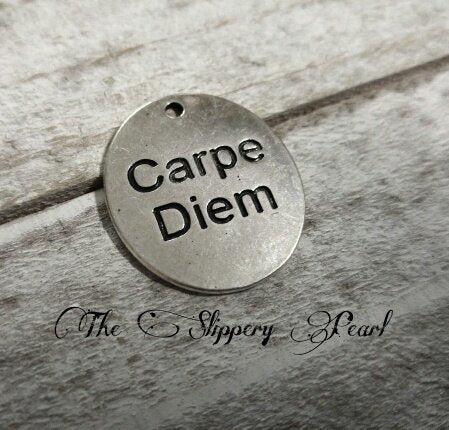 Quote Pendant Word Pendant CARPE DIEM Pendant Antiqued Silver Word Charm Quote Charm Seize the Day Latin Quote