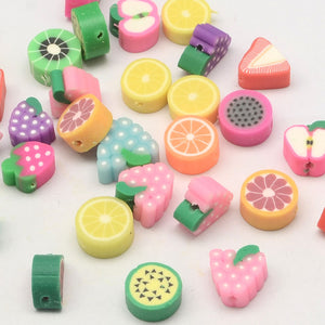Polymer Clay Beads Assorted Beads Fruit Beads Food Beads Polymer Beads 7mm-12mm Beads 20 pieces Wholesale Beads
