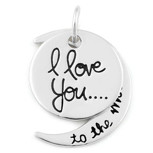 Word Charms Quote Charms Sterling Silver Pendant I Love You to The Moon and Back Moon Charm