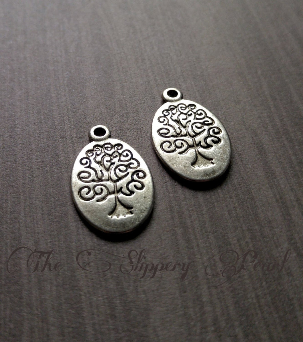 Tree Charms Tree Pendants Tree of Life Charms Silver Tree Charms Stamped Tree Charms Oval Charms Oval Tree Charms BULK Charms Wholesale 50pc