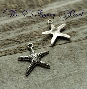 Starfish Charms Starfish Pendants Silver Starfish Charms Antiqued Silver Charms Nautical Charms Ocean Charms Sea Life Charms 10 pieces