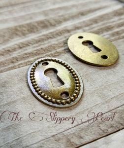 Key Hole Connector Keyhole Pendants Antiqued Bronze Oval Keyhole Connectors Steampunk Keyholes 4 pieces Keyhole Links