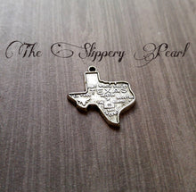 Load image into Gallery viewer, Texas Charms Texas Pendants State of Texas Map Charms State Charms Antiqued Silver Texas Charms Highly Detailed TX 2 pieces