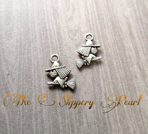 Witch Charms Antiqued Silver Witch Pendants Witch on a Broom Halloween Charms Cute Witch 10pcs