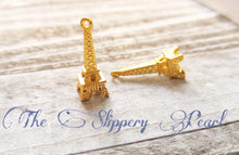 Load image into Gallery viewer, Eiffel Tower Charms Eiffel Tower Pendant Gold Eiffel Towers Paris Charms France Charms Paris Pendants Gold Charms 24mm 10 pieces