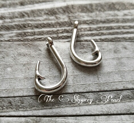 Fish Hook Charms Hook Pendants Fishing Charms Fishing Pendants Fisherman Charms Antiqued Silver Pendants Large Focal Pendant 5 pieces