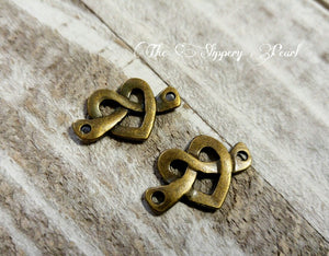 Bronze Heart Charms Heart Link Heart Knot Charms Antiqued Bronze Heart Pendants Pretzel Charms Links Connector Charms 10pcs