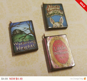 "Miniature Book Charms Wood Charms Classic Book Charms Set of 3 1"" Library Charms Librarian Charms PREORDER"