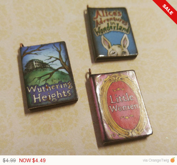 Miniature Book Charms Wood Charms Classic Book Charms Set of 3 1