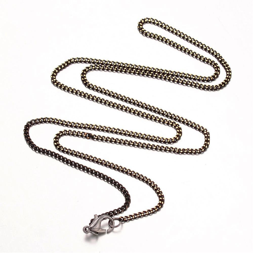Finished Chain Necklace Wholesale Chain 24 Inch Chain Necklace Black Chain Necklace Gunmetal Necklace Chain Curb Chain Necklace